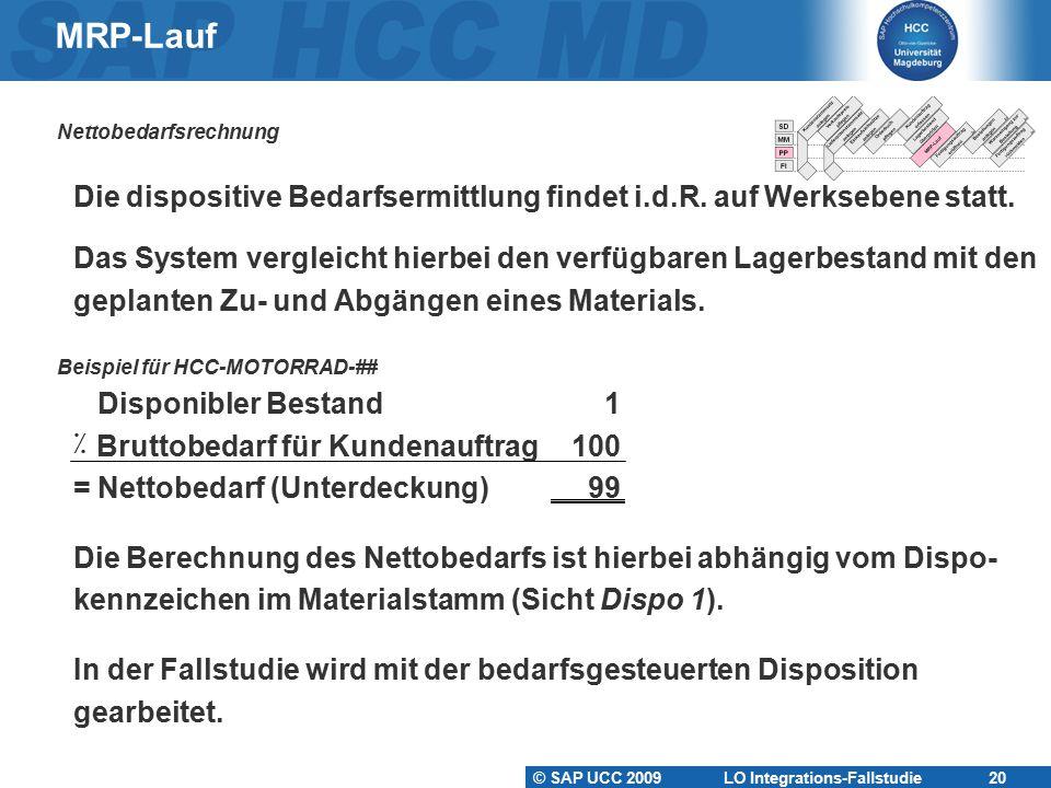 MRP-Lauf Nettobedarfsrechnung. Die dispositive Bedarfsermittlung findet i.d.R. auf Werksebene statt.
