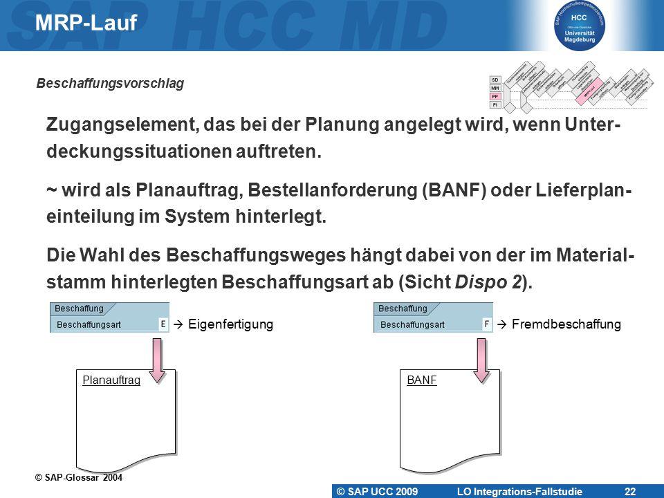 MRP-Lauf Beschaffungsvorschlag. Zugangselement, das bei der Planung angelegt wird, wenn Unter- deckungssituationen auftreten.