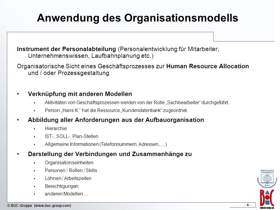 Anwendung des Organisationsmodells