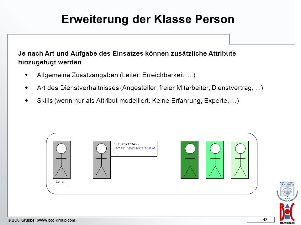Erweiterung der Klasse Person