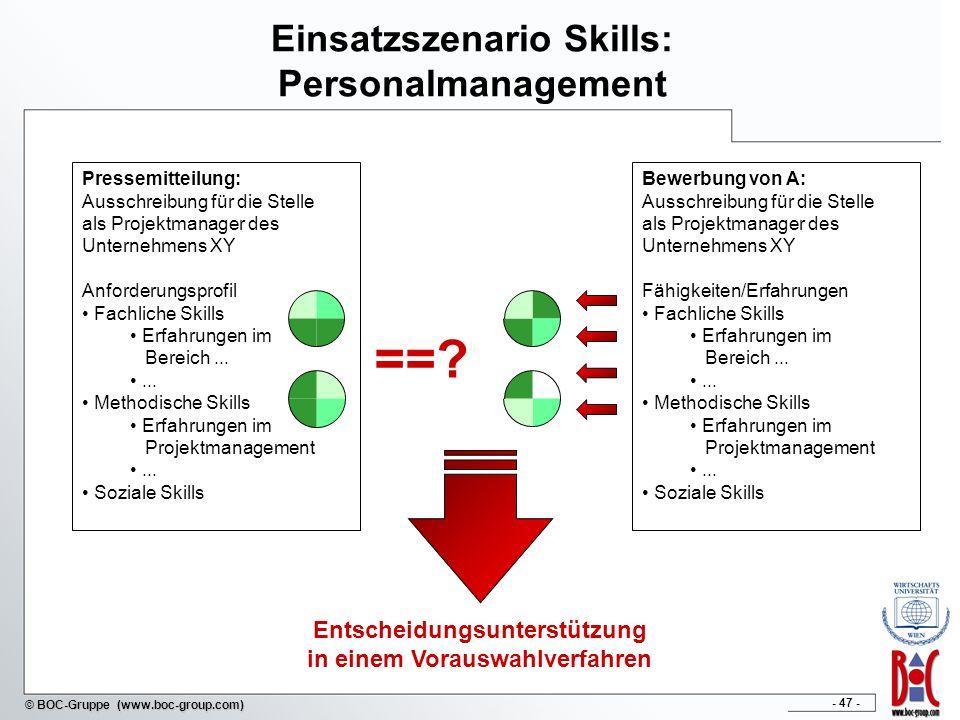 Einsatzszenario Skills: Personalmanagement