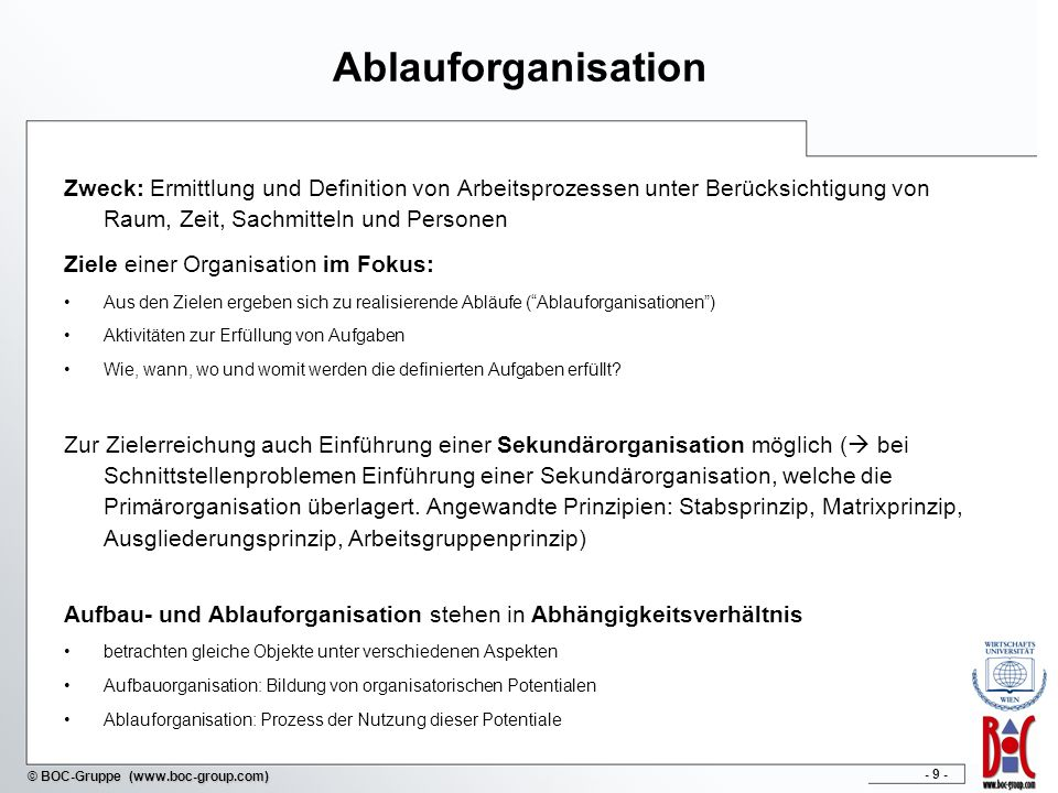 Ablauforganisation Zweck: Ermittlung und Definition von Arbeitsprozessen unter Berücksichtigung von Raum, Zeit, Sachmitteln und Personen.