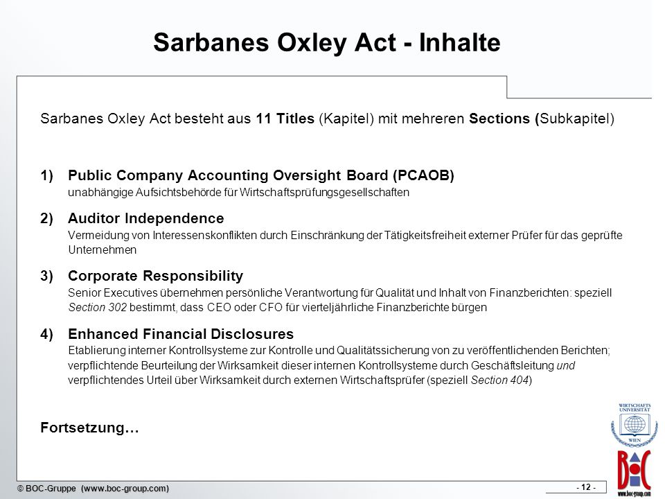 Sarbanes Oxley Act - Inhalte