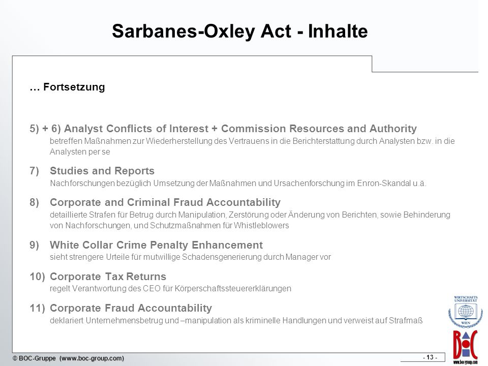 Sarbanes-Oxley Act - Inhalte