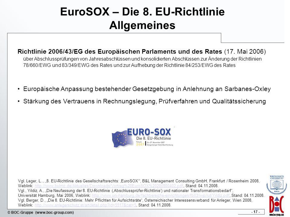 EuroSOX – Die 8. EU-Richtlinie Allgemeines