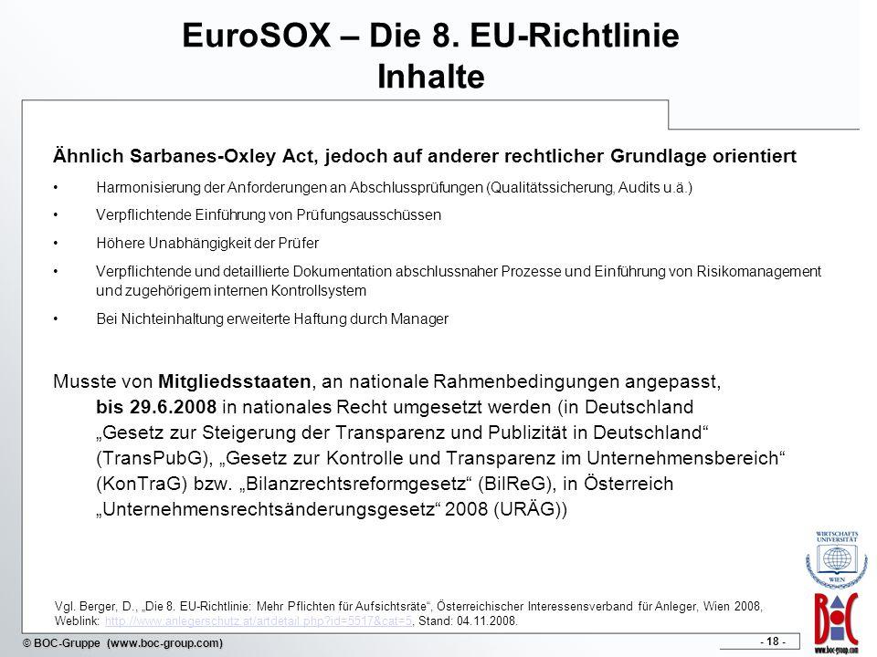 EuroSOX – Die 8. EU-Richtlinie Inhalte