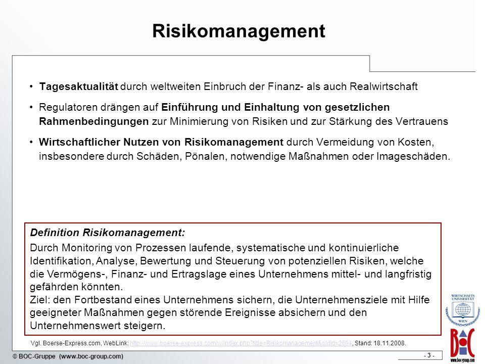 Risikomanagement Tagesaktualität durch weltweiten Einbruch der Finanz- als auch Realwirtschaft.