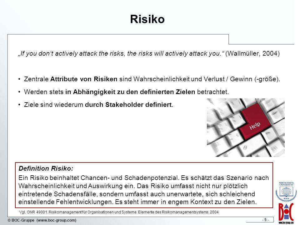 "Risiko ""If you don't actively attack the risks, the risks will actively attack you. (Wallmüller, 2004)"