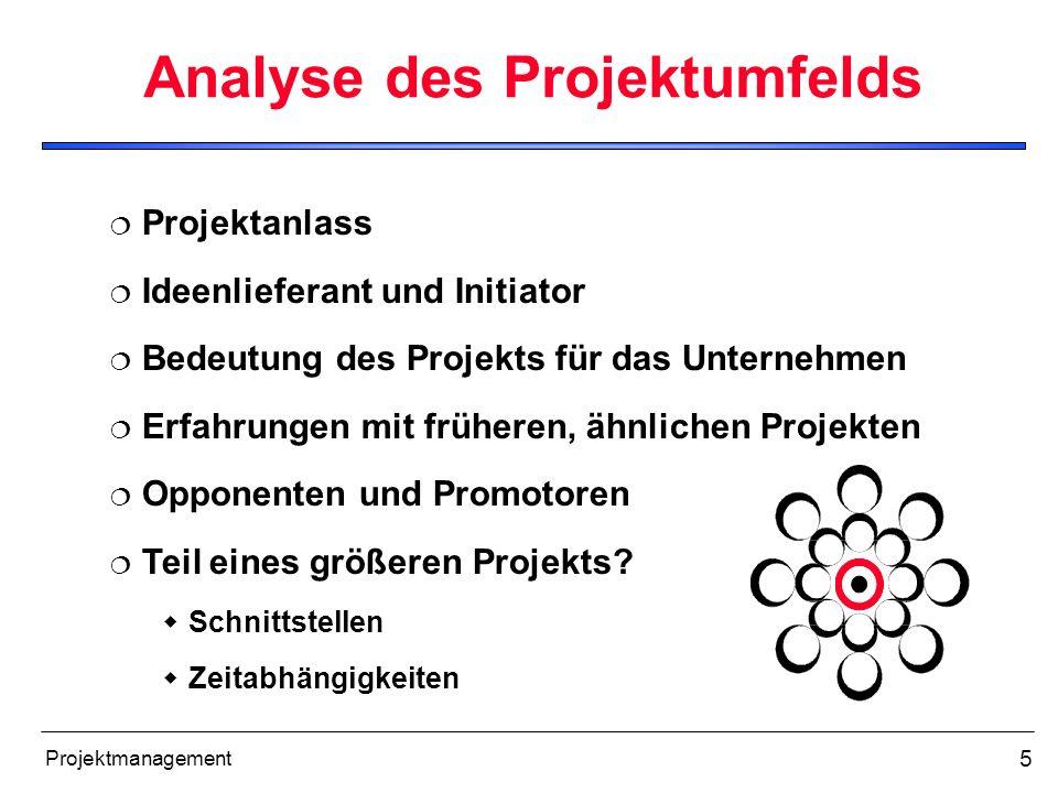 Analyse des Projektumfelds