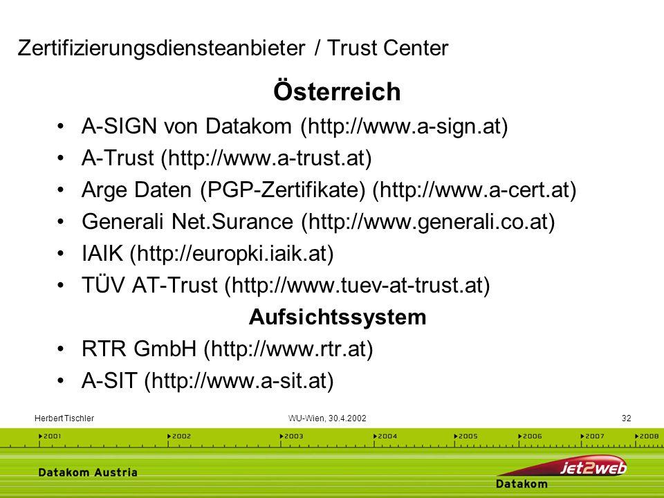 Zertifizierungsdiensteanbieter / Trust Center
