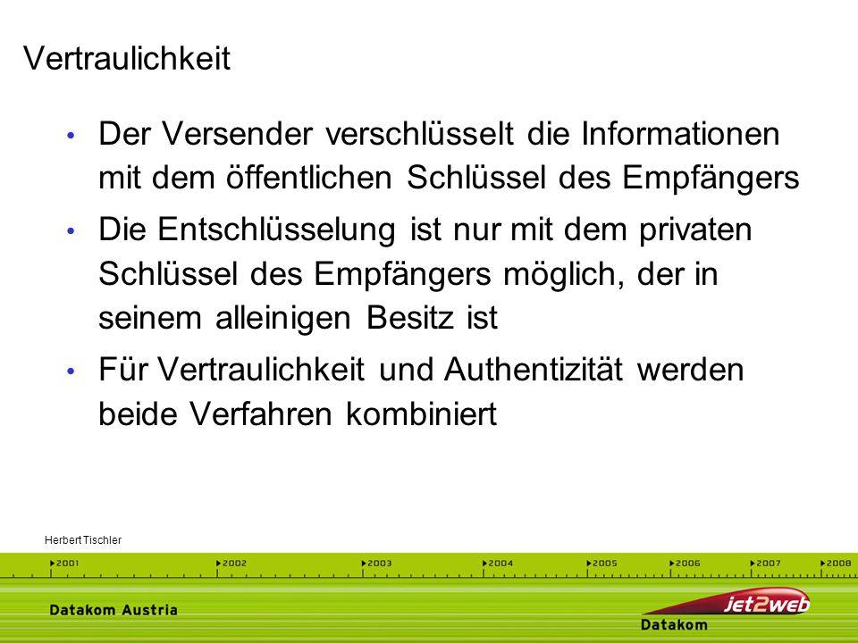 Vertraulichkeit Der Versender verschlüsselt die Informationen mit dem öffentlichen Schlüssel des Empfängers.