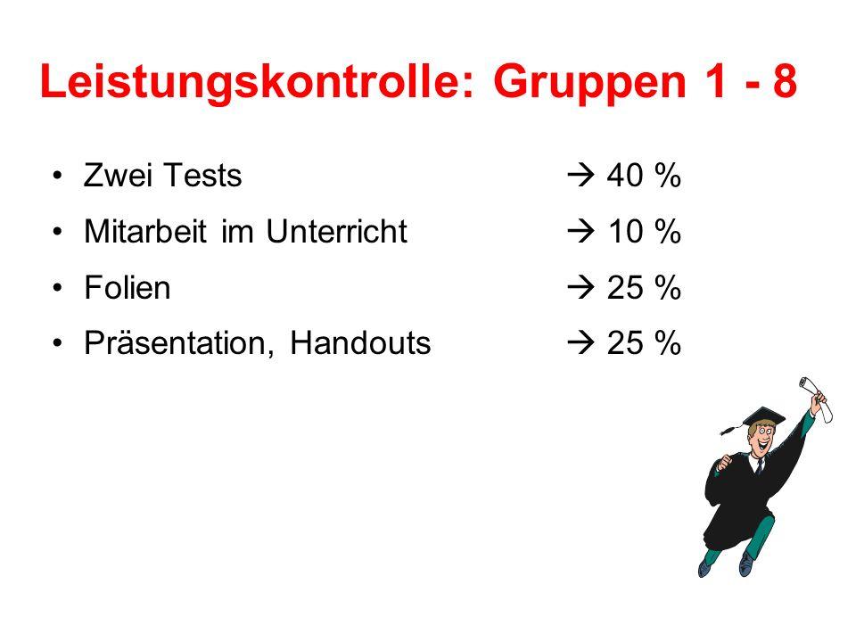 Leistungskontrolle: Gruppen 1 - 8