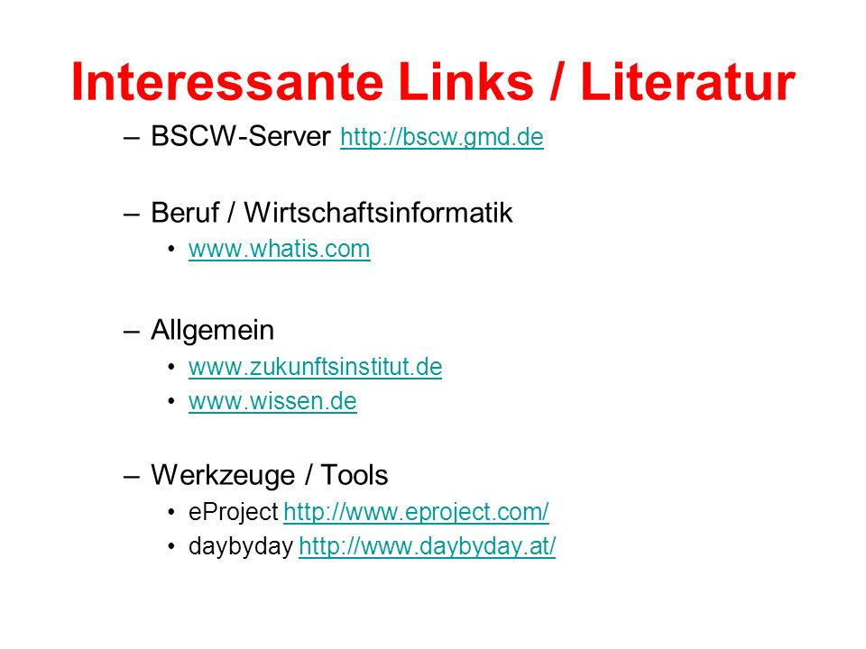 Interessante Links / Literatur