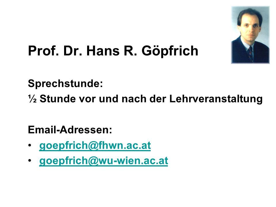 Prof. Dr. Hans R. Göpfrich Sprechstunde: