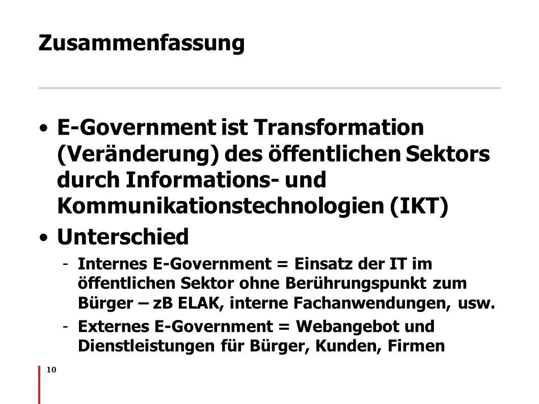 Zusammenfassung E-Government ist Transformation (Veränderung) des öffentlichen Sektors durch Informations- und Kommunikationstechnologien (IKT)