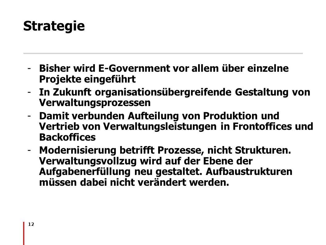 Strategie Bisher wird E-Government vor allem über einzelne Projekte eingeführt.