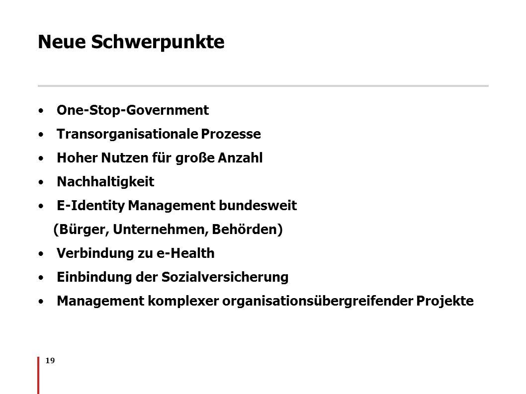 Neue Schwerpunkte One-Stop-Government Transorganisationale Prozesse