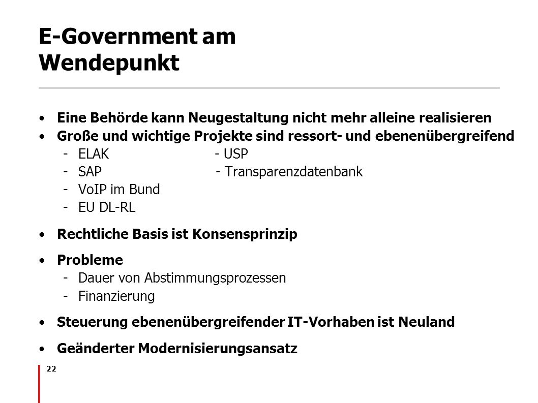 E-Government am Wendepunkt