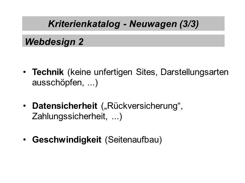 Kriterienkatalog - Neuwagen (3/3)