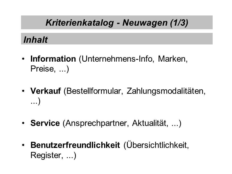 Kriterienkatalog - Neuwagen (1/3)