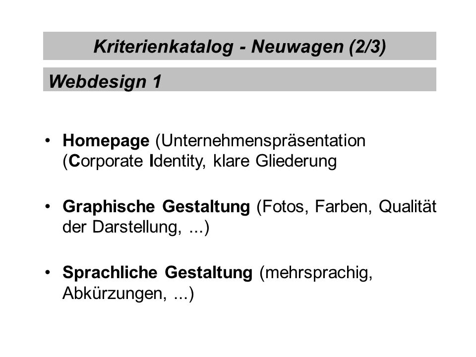 Kriterienkatalog - Neuwagen (2/3)