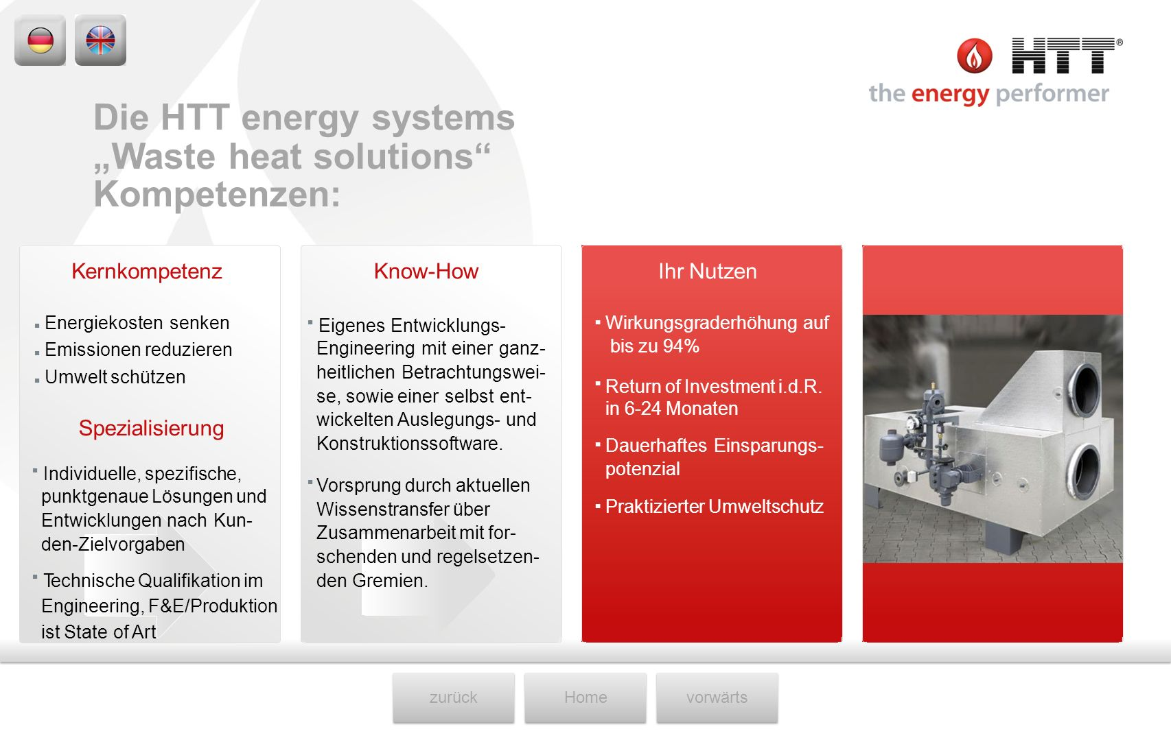 """Waste heat solutions Kompetenzen:"