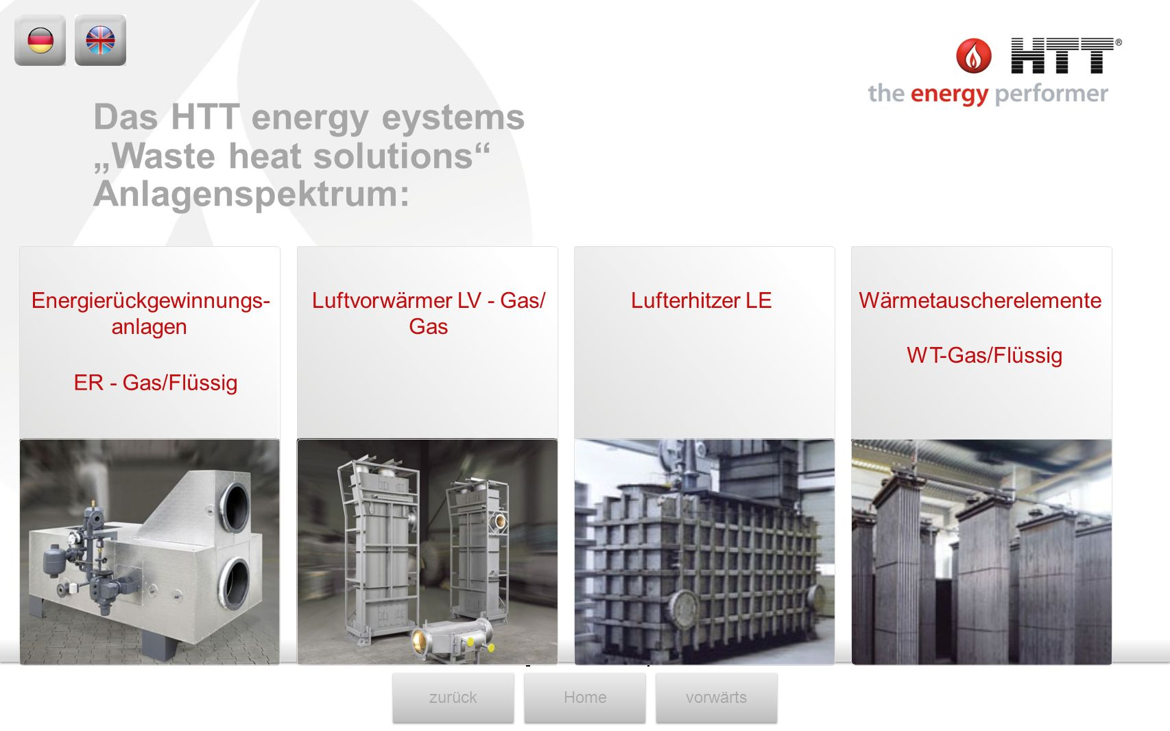 """Waste heat solutions Anlagenspektrum:"