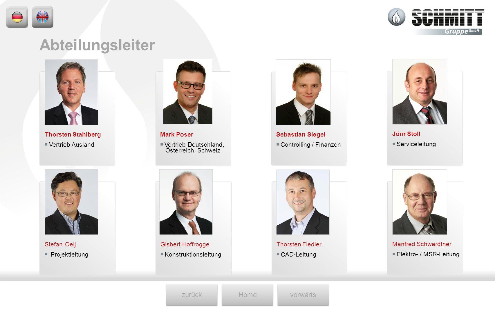 Abteilungsleiter Thorsten Stahlberg  Vertrieb Ausland Mark Poser