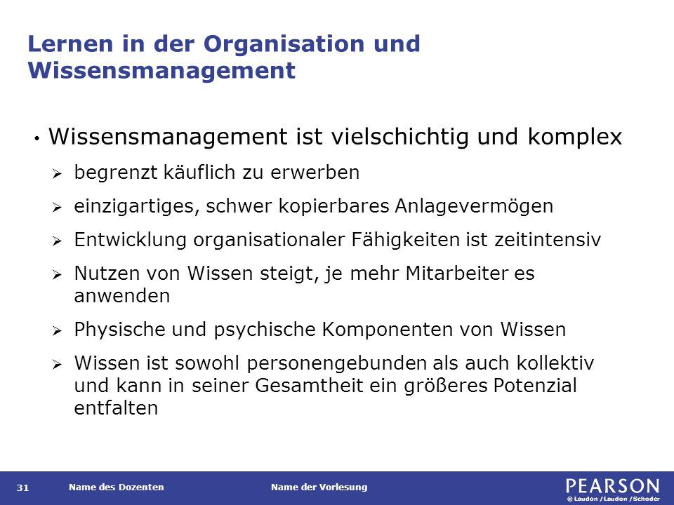 Lernen in der Organisation und Wissensmanagement