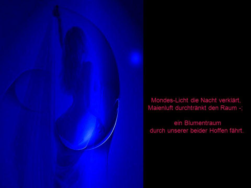 Mondes-Licht die Nacht verklärt, Maienluft durchtränkt den Raum -;