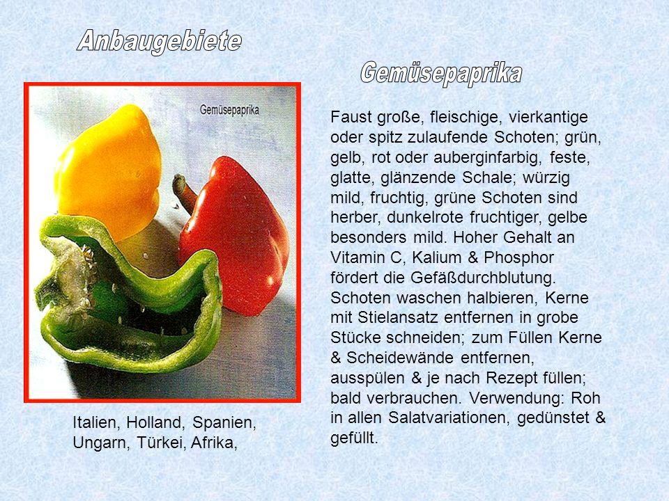 Anbaugebiete Gemüsepaprika