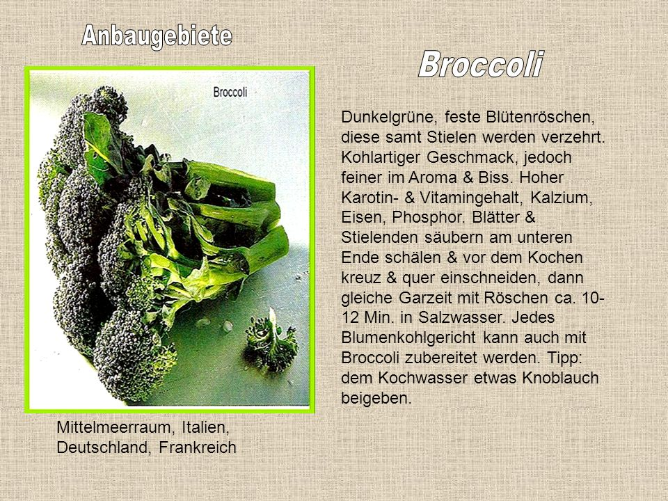 Anbaugebiete Broccoli