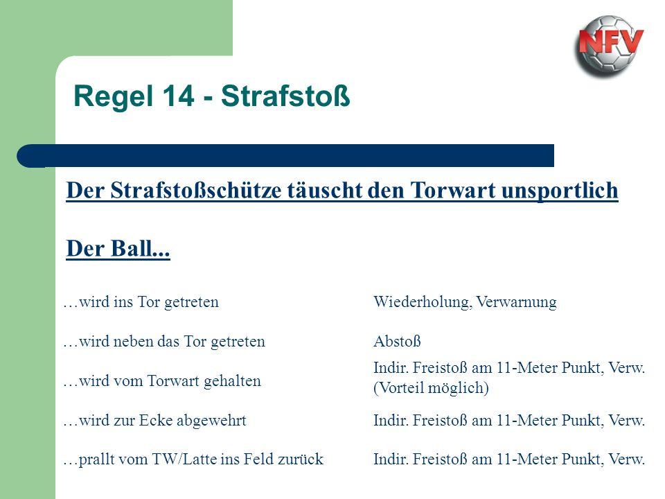 Regel 14 - StrafstoßDer Strafstoßschütze täuscht den Torwart unsportlich. Der Ball... …wird ins Tor getreten.