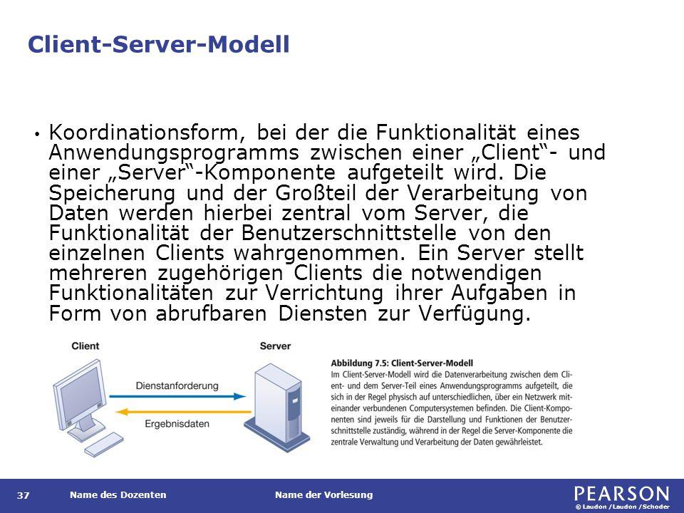 Mögliche Aufgabenverteilung zwischen Client und Server