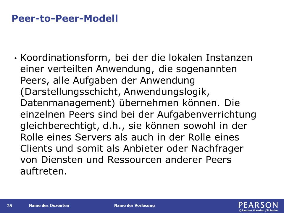 Peer-to-Peer-Modell und Client-Server-Modell