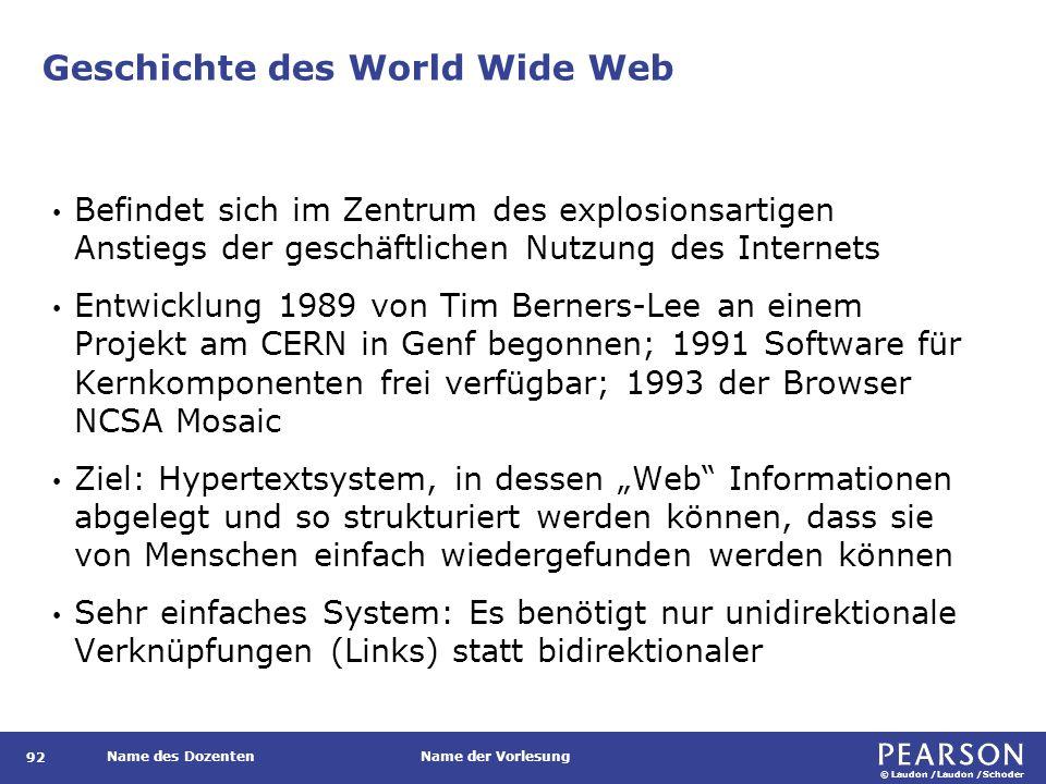 Zentrale Konzepte Das World Wide Web von Tim Berners-Lee definierte drei Kernkonzepte: