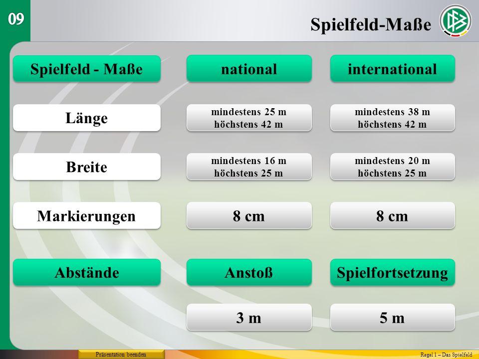 Spielfeld-Maße 09 Spielfeld - Maße national international Länge Breite