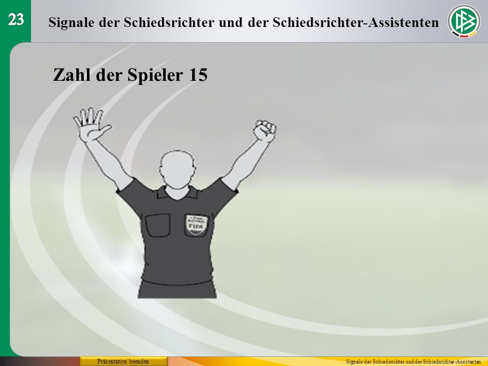 23 Signale der Schiedsrichter und der Schiedsrichter-Assistenten. Zahl der Spieler 15. Präsentation beenden.