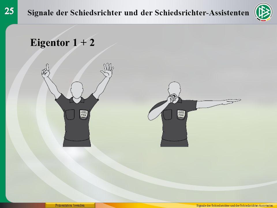 25 Signale der Schiedsrichter und der Schiedsrichter-Assistenten. Eigentor 1 + 2. Präsentation beenden.