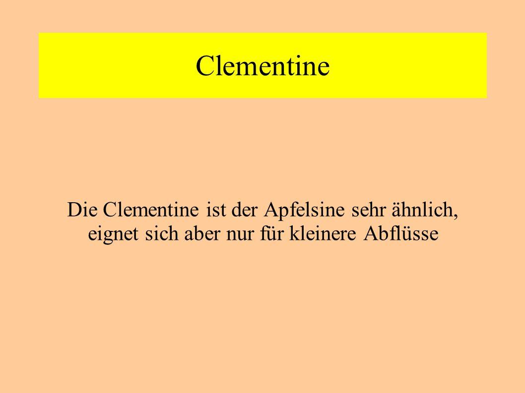 Clementine Die Clementine ist der Apfelsine sehr ähnlich, eignet sich aber nur für kleinere Abflüsse.
