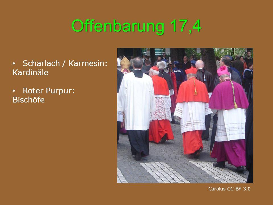 Offenbarung 17,4 Scharlach / Karmesin: Kardinäle Roter Purpur: