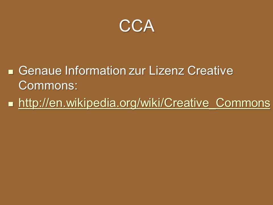 CCA Genaue Information zur Lizenz Creative Commons: