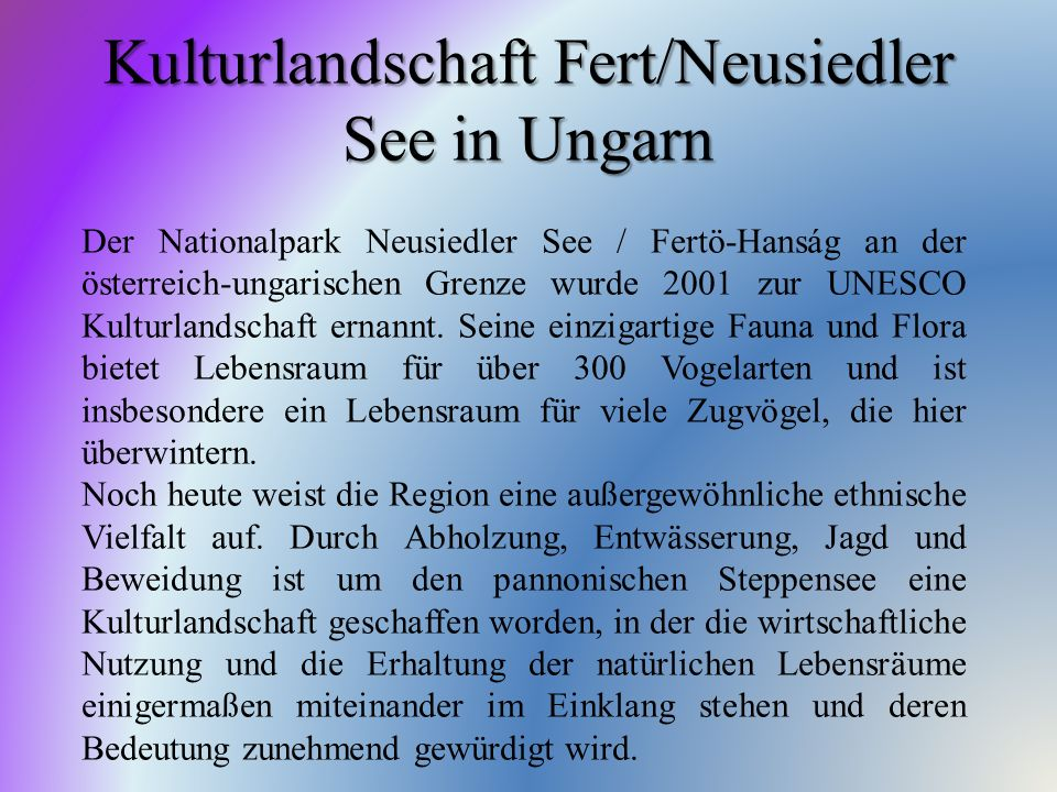 Kulturlandschaft Fert/Neusiedler See in Ungarn
