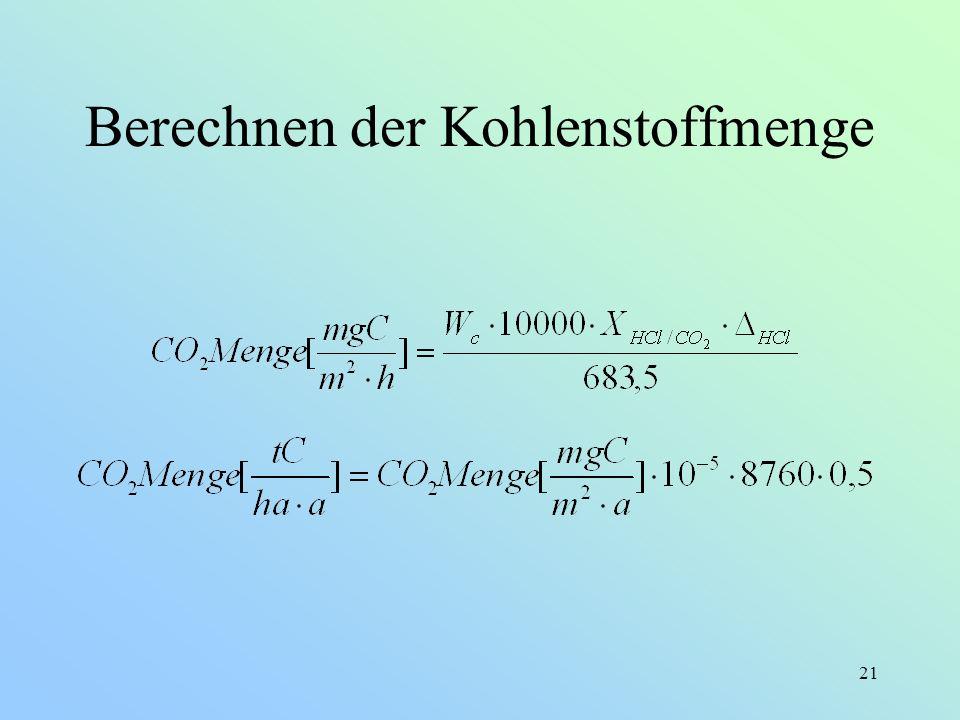 Berechnen der Kohlenstoffmenge