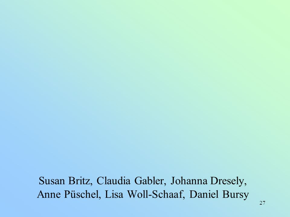 Susan Britz, Claudia Gabler, Johanna Dresely, Anne Püschel, Lisa Woll-Schaaf, Daniel Bursy