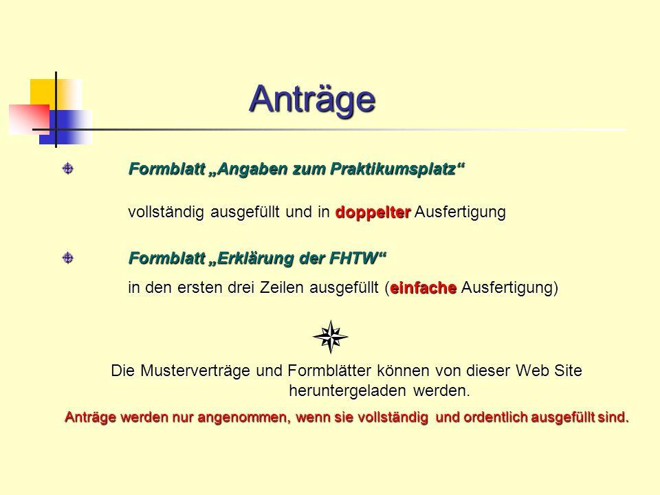 "Anträge Formblatt ""Angaben zum Praktikumsplatz"