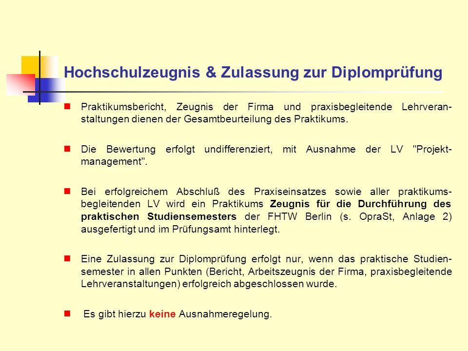 Hochschulzeugnis & Zulassung zur Diplomprüfung