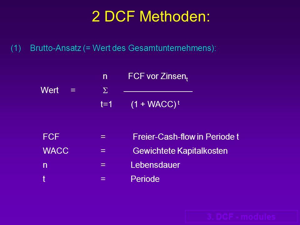 2 DCF Methoden: (1) Brutto-Ansatz (= Wert des Gesamtunternehmens): n FCF vor Zinsent.