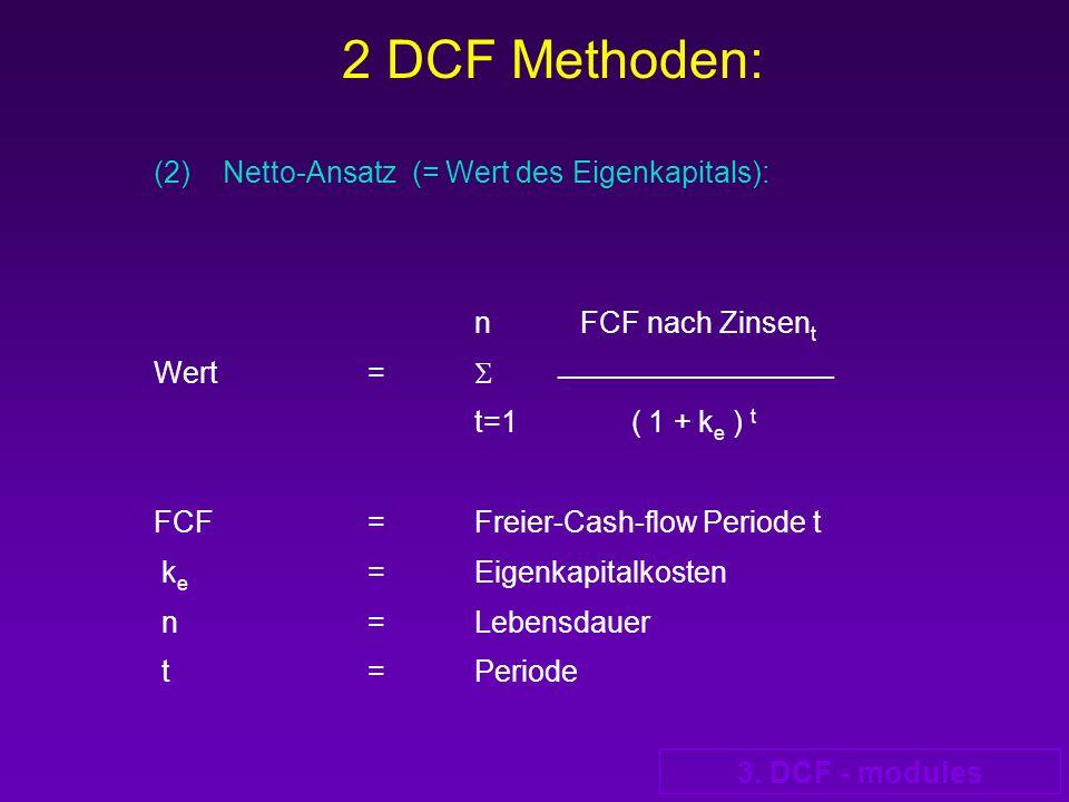 2 DCF Methoden: (2) Netto-Ansatz (= Wert des Eigenkapitals):
