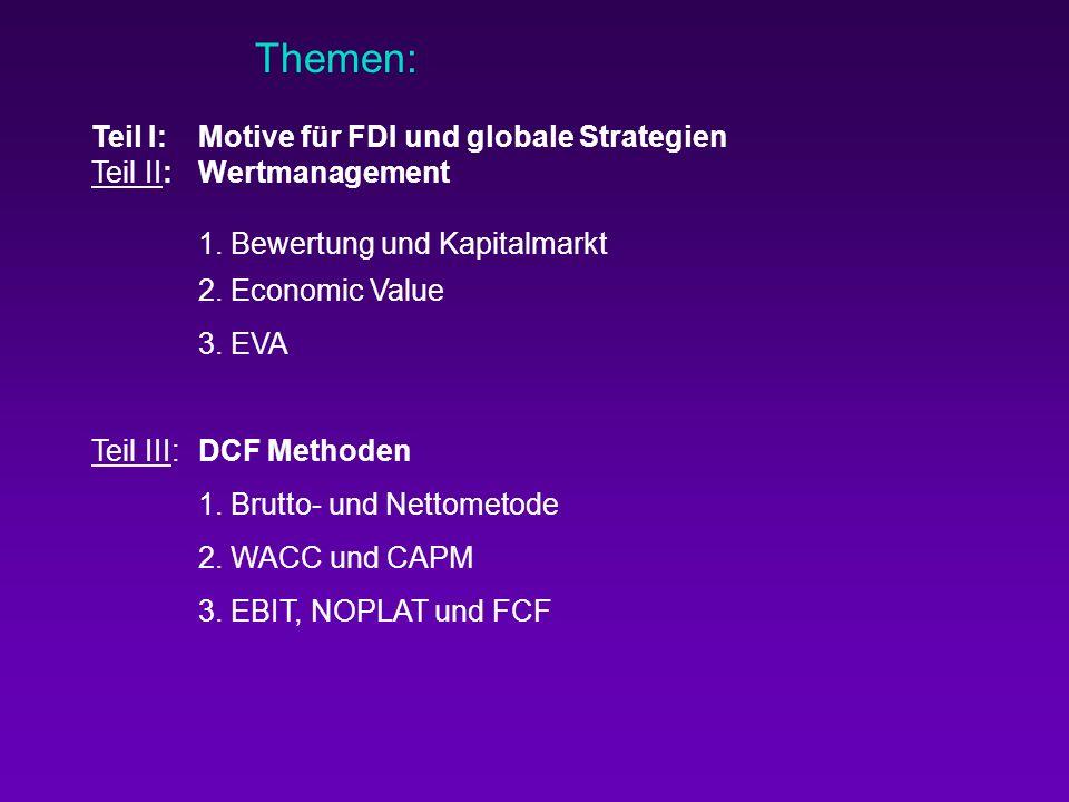 Themen: Teil I: Motive für FDI und globale Strategien. Teil II: Wertmanagement. 1. Bewertung und Kapitalmarkt.